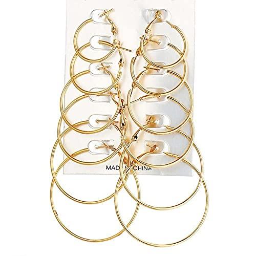 ZLHZYP arete, 6 pares de pendientes de aro de círculo grande de color dorado para mujer, conjunto de pendientes de lazo pequeño de color plateado, joyería de fiesta Steampunk, color dorado