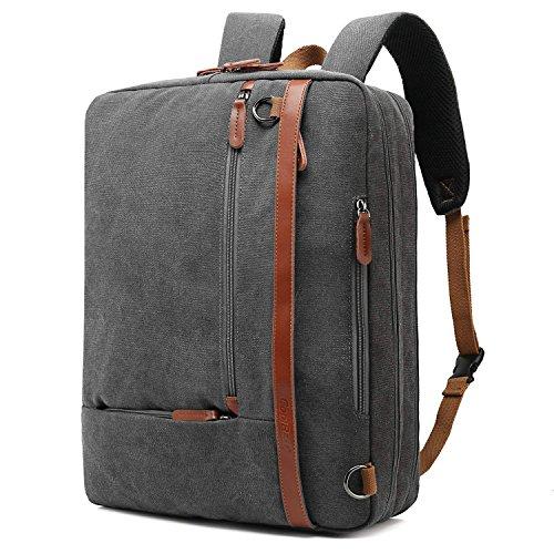CoolBELL umwandelbar Aktentasche Rucksack Messenger Bag 17,3 Zoll Laptoptasche Herren Business Umhängetasche Mehrzweck Arbeitastasche Reisen Backpack Notebook Schultertasche(Canvas Grau)