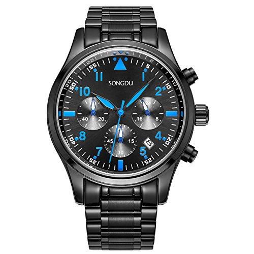 binger pantalones multifunción reloj de cuarzo reloj negro de acero inoxidable y pulsera