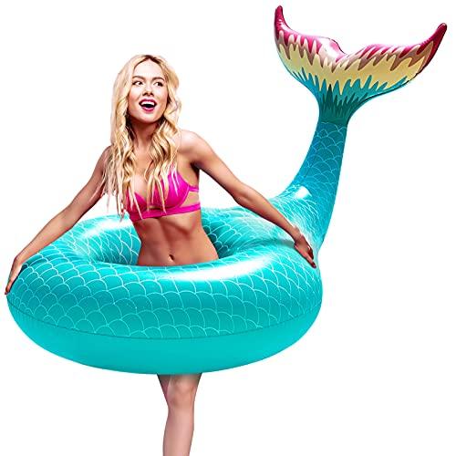FUNOVA Cola de Sirena Hinchable colchonetas Tubo de Piscina Flotador Gigante Veraniego Inflable Juguete para Fiestas Piscina Verano Nadar Piscina Océano Lago para Niños Adultos Niñas (Verde)