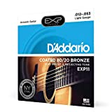 D'Addario EXP11 with NY Steel Acoustic Guitar Strings, 80/20, Coated, Light, 12-53...