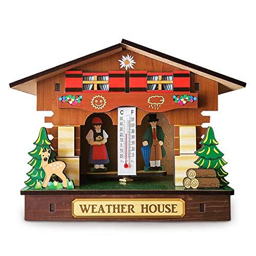 Easy-topbuy Holz Wetter Wouse, Kreative Barometer Thermometer Hygrometer Mit Mann Und Frau, Heimtextilien Wandbehang Ornamente, 15x6x12cm