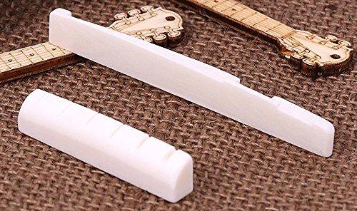 MINGZE 6 cuerdas acústico clásico guitarra hueso puente silla de montar y tuerca hecho de real hueso (para acústica)