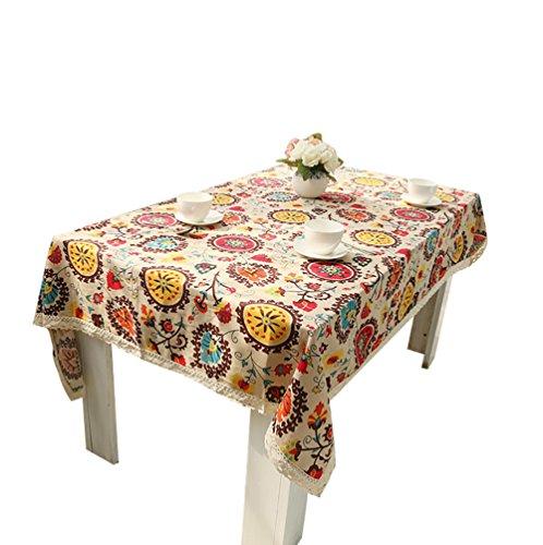 NiSeng Tournesol Fleurs Imprimé Nappes Rectangulaire Anti-tâche Nappe en Lin Décorative Nappe de Table Exterieur Tournesol 140x220 cm