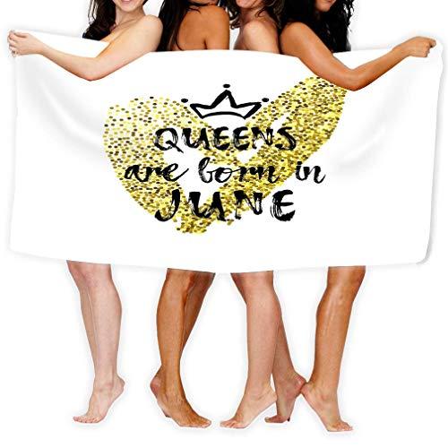 Toalla de Playa Frase Popular Reinas Nacidas Junio Corona a Mano alzada Diseño de Plantilla de corazón Tarjeta de felicitación Felicitación Lindo