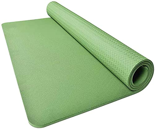 LSLS Esterilla de yoga mate de 20 mm súper gruesa para yoga, antideslizante, aumenta el movimiento, esterilla de gimnasio (color: verde, tamaño: 200 x 130 x 2 cm)