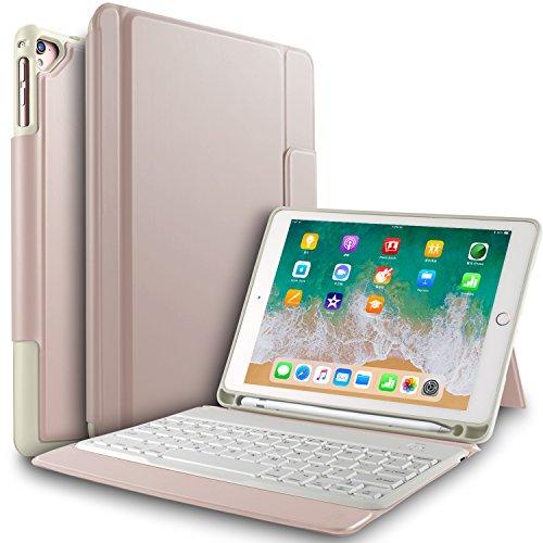 IVSO Apple Nuevo iPad 9.7 pulgadas Caja de teclado inalámbrico, Ultra-Thin Stand Funda de teclado con ranura para lápiz para el nuevo iPad 9.7 2018/2017/iPad Pro 9.7/iPad Air 2/iPad Air Tablet (Oro Rosa)