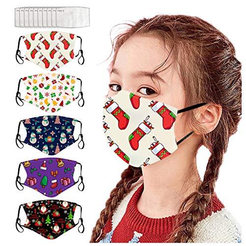 theshyer 5 piezas 𝐌𝐚𝐬𝐜𝐚𝐫𝐢𝐥𝐥𝐚𝐬 + 10 filtro Niños Reutilizable Lavable con Bolsillo...