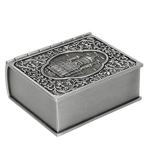OIHODFHB Caja de almacenamiento de joyas de metal vintage para tallar libros