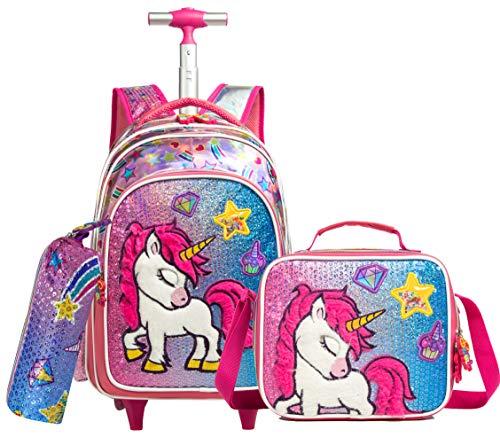 Unicornio Mochila de felpa con ruedas, equipaje, cabina, viajes de ocio, niña, primaria, jardín de infantes, mochilas con ruedas para niñas, kit de viaje con bolsa de almuerzo, unicornio, 3 piezas
