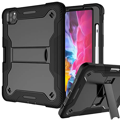 Finigc iPad Pro 11 Case 2020 & 2018, iPad Air 4 10.9 Case Heavy Duty Hybrid Shockproof Rugged Drop Protection Cover Built with Kickstand for iPad Pro 11 2nd Gen 2020 & 1st Gen 2018, Black