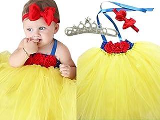 白雪姫 風 チュチュ ドレス 誕生日 結婚式 ドレス フラワーガール 記念 撮影 新生児 ハーフバースデー 誕生日 0歳1歳2歳 60 cm 70 cm 80 cm 85 cm (M(6-12M丈約47cm)) [並行輸入品]