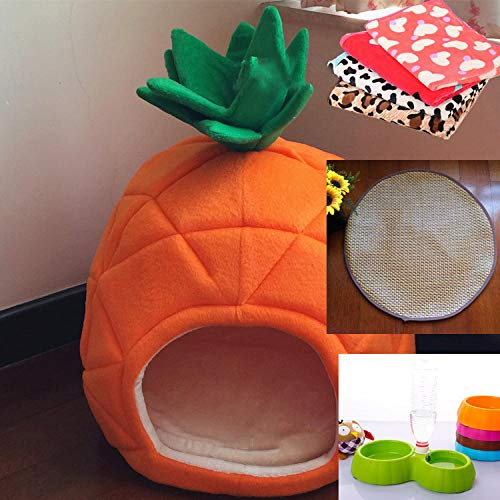 Pet Bed, Comfortable and Soft Pet Nest, Pet Tent Cave House Suitable for Cats Dogs/small Dogs, Pet Bed with Removable Washable Cushion-Pineapple nest + double bowl + summer mat + blanket_small
