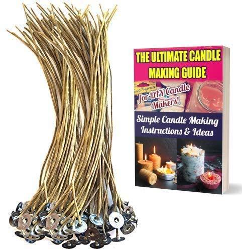 Cozyours - Stoppini per candele in canapa biologica, 20 cm, 100 pezzi, pre-cerati in cera d'api naturale al 100%