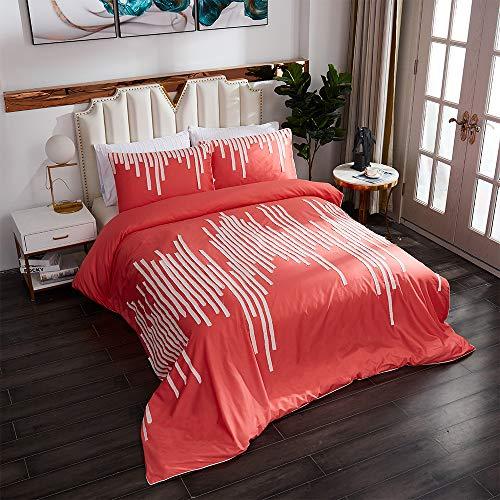 FADFAY Boho Bedding Set Premium 100% Egyptian Cotton 800 TC Hypoallergenic Fringe Stripe Duvet Cover Set Chic Designer Bedding 3 Piece :1Zipper Duvet Cover & 2 Pillowcases(Orange,Queen)