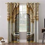 Cortinas opacas, 52 x 108 de ancho con aislamiento térmico de ojales, diseño de edificio vintage con fachada exterior con moo, cortinas oscurecedoras para habitación (2 paneles)