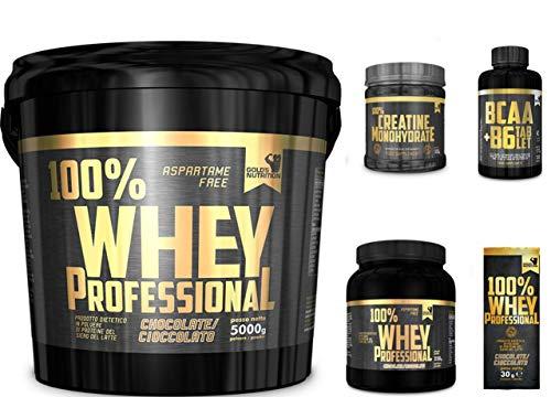 Multi Marca 100% Whey Professional Gold's Nutrition 5 kg Proteine Siero Cioccolato + Bcaa 100cps + CREATINA Scitec o Gold's Nutrition 100g + OMAGGI