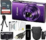 CanonPowerShot ELPH 360 HS 20.2MP 12x Zoom Full-HD 1080p Wi-Fi Digital Camera (Purple) + 32GB Card + Reader + Spare Battery + Case + Accessory Bundle