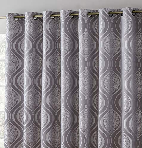 HLC.ME Montero Damask 100% Complete Full Blackout Thermal Insulated Extra Wide Grommet Curtain Panel for Sliding Glass Patio Door - Energy Savings & Soundproof (100 x 84 inch Long, Grey)