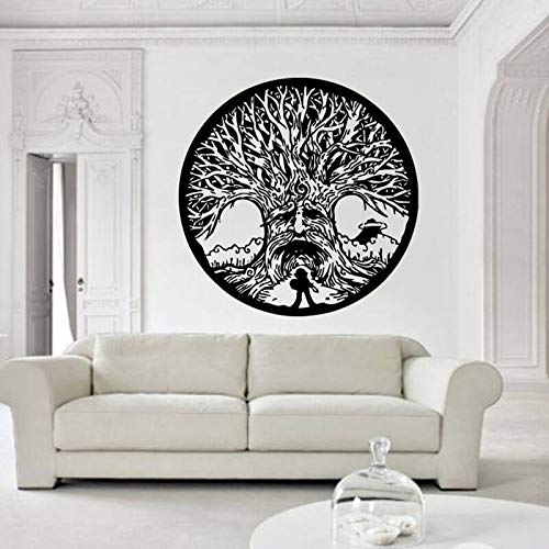 Geiqianjiumai Vinyl wandaufkleber lebensbaum lebenskreis abnehmbare Aufkleber Wohnzimmer Kunst 75,6X75,6 cm