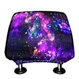 WIRESTER Car Seat Head Rest Cover, Protective Fabric Design Cover Decoration for All Cars - Purple Marvel Nebula Galaxy