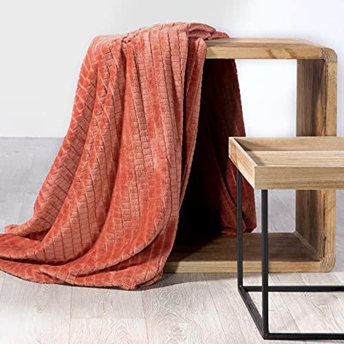 Design91 Decke, Kuscheldecke Cindy 2, weiche, Flauschige Wohndecke, Steppdecke, MIKROFASER, 70x160, 150X200, 170x210, 220x200 cm (Ziegelrot, 70 x 160 cm)