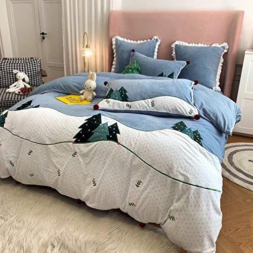 Shinon teddy fleece bedding king size set-Milk velvet baby velvet four-piece set autumn and winter thick warm duvet cover single double bed single pillowcase 9_1.8m bed (4 pieces)