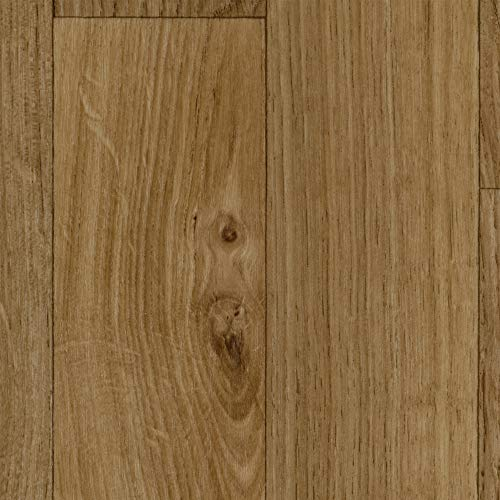BODENMEISTER BM70568 Vinylboden PVC Bodenbelag Meterware 200, 300, 400 cm breit, Holzoptik Schiffsboden Eiche hell natur