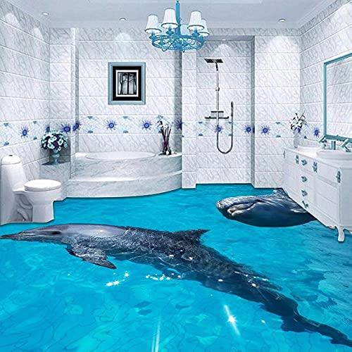 Mural personalizado Dolphin Underwater World 3D Baño Azulejos Pegatinas Pegatinas de pared autoadhesivas a prueba de agua Papel tapiz Dormitorio-350x245cm