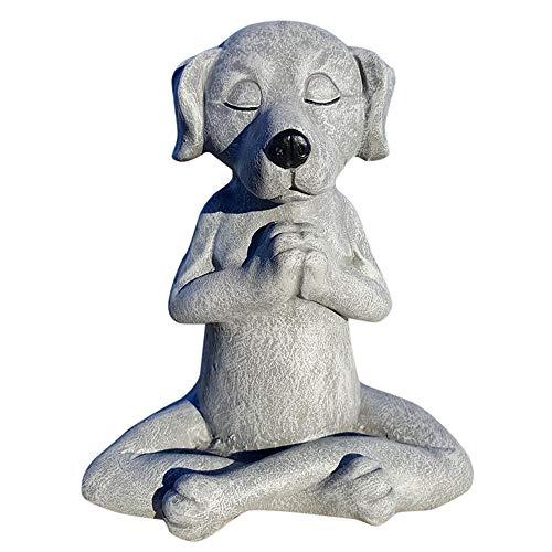 luckcat Dog Statue Zen Yoga Relaxed Pose Buddha Meditation Funny Guy Mugs Garden Gnome Statue - Middle Finger Dog - Dog Buddha, Meditation Dog Statue-Yoga Dog Garden Decoration (A)