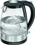 Clatronic WKS 3680 G Glas-Edelstahl-Wasserkocher 1,7 L, verdecktes Edelstahlheizelement,...