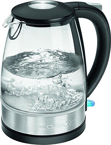 Clatronic WKS 3680 G Glas-Edelstahl-Wasserkocher 1,7 L, verdecktes Edelstahlheizelement, außenliegende Wasserstandsanzeige