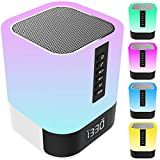 Bluetooth Speaker Night Lights, 12/24H Alarm Clock Touch Control Bedside Lamp, Dimmable Multi-Color Changing LED Table Lamp for Bedroom, Bluetooth Speaker MP3 Player with Lights