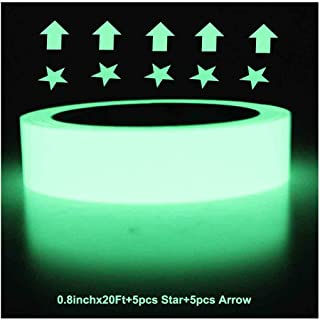 Ksyh Glow in The Dark Tape, 20 feet x 0.8 Inch, Luminous Tape Sticker, Luminescent/Photoluminescent/Roll Safety,Egress Markers Stairs,Walls,Steps,Exit,Sign, Glowing Pro Theatre Stage Floor