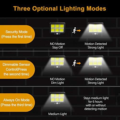 Solar Lights Outdoor Motion Sensor w/ 240 Bright COB LED, 16.4Ft Cable, 3 Lighting Modes, Adjustable Panels. Wired Security Solar Powered Flood Lights for Indoor, Outside, Yard, Garden(5500K, 2 Set)