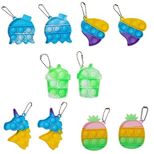BINGLALA 10Pcs Simple Fidget Toy Pop Fidget Toy Mini Stress Relief Hand Toys Keychain Toy Push Pop Bubble Wrap Pop Anxiety Stress Reliever Office Desk Toy for Kids Adults