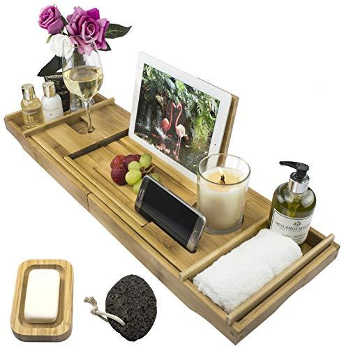 Moon & Lagoon Bamboo Over Bath Bridge Tub Caddy Tray – Wood Bathtub Rack...
