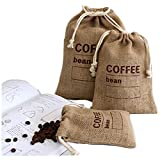 Cereals Jute Woven Bundles Coffee Bean Bags Kitchen Sundries Peas Bags Sacks Date Record Natural Burlap Bags Drawstring Reusable (3, 11.8' X 7.87')