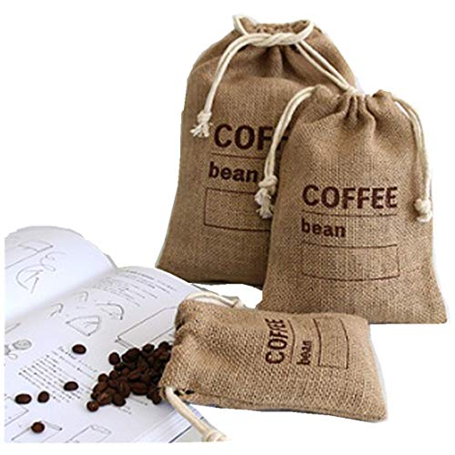 Cereales de yute tejidos paquetes de café en grano bolsas de cocina saquitos de guisantes sacos registro de fecha bolsas de arpillera natural con cordón reutilizable (21 x 15 cm)