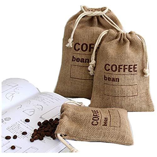 Cereales Yute Woven Bundles Bolsas de café Frijoles Utensilios de cocina Bolsas de guisantes Sacos Registro de fecha Natural Bolsas de arpillera con cordón reutilizable (21 x 15 cm)