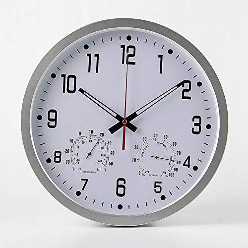 Outdoor Garden Wall Clock, 14 Inch Large Waterproof Garden Clock with Hygrometer Thermometer Waterproof Outdoor Clock Decorative Fence Ornament Outside Clock Mute Wall Clock for Indoor Outdoor,Gray