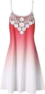 db71e4ba7b96 Caopixx Womens Mini Dress Crochet Lace Halter Mini Slip Dress Sleeveless T-Shirt  Dresses