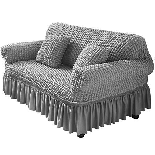 Ronghome Funda de sofá con falda, funda universal de alta elasticidad, 1 unidad, protector universal para sillón Seersucker con falda de volantes 1, 2, 3, 4 plazas