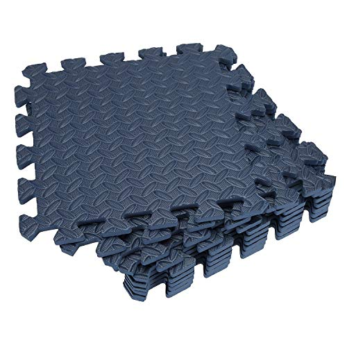 Tebery 16 Pieces Leaf Pattern Interlocking Floor Tiles Non-Slip Exercise Mat 1/2-Inch Thick EVA Foam Puzzle Floor Mat (Blue)