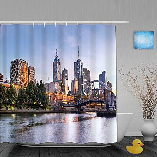 AMIGGOO Duschvorhang,Stadt, frühmorgendliche Landschaft in Melbourne Australien Berühmte Yarra River-Landschaft,Bad Vorhang waschbar Bad Vorhang Polyester Stoff mit 12 Kunststoffhaken 180x210cm