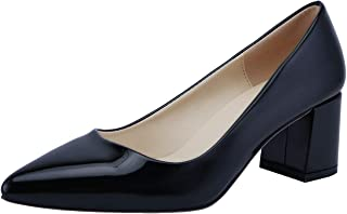 SHOESFEILD Women's Chunky Block Heels Closed Pointed Toe Slip On Mid Heels Classic Dress Pump Shoes
