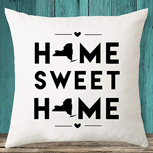 Home Sweet Home - Funda de almohada con diseño de mapa del estado de Nueva York, regalo de inauguración de la casa, funda de almohada personalizada