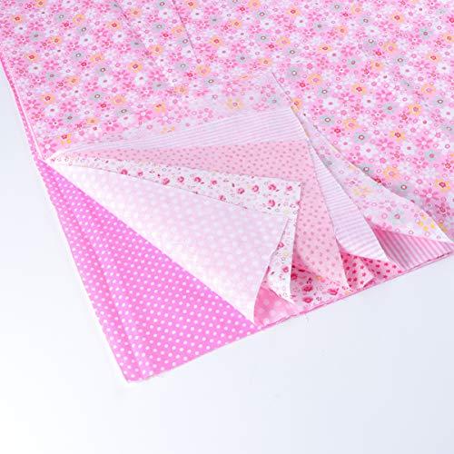 EXCEART 7 hojas de tela de algodón floral cuadros de tela floral tela acolchada para patchwork costura diy scrapbooking 50x50cm (rosa)