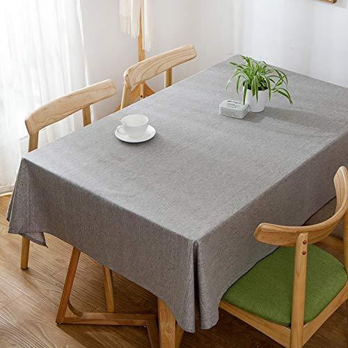 Mantel rectangular de lino y algodón, sin arrugas, con borlas, lavable, para cocina, comedor, fiesta, 120 x 120 cm