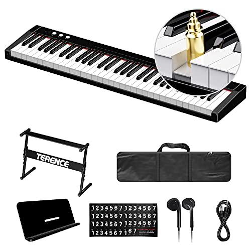TERENCE 電子キーボード 61鍵盤 電子ピアノ 初心者セット 軽量 シンプル 強弱表現 MIDI対応 バッテリ内蔵 140音色・128リズム・60デモ・和音対応 スタンド イヤホン 収納バッグ付き ACアダプター 譜面立て 日本語取扱書 鍵盤シール オーディオケーブル